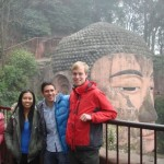 Me, my fellow travellers and a giant Budda in Leshan. The woman in the pink is not related to us in any way, by the way.