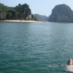 Me, having a thoroughly spiffing time in Lan Ha Bay.